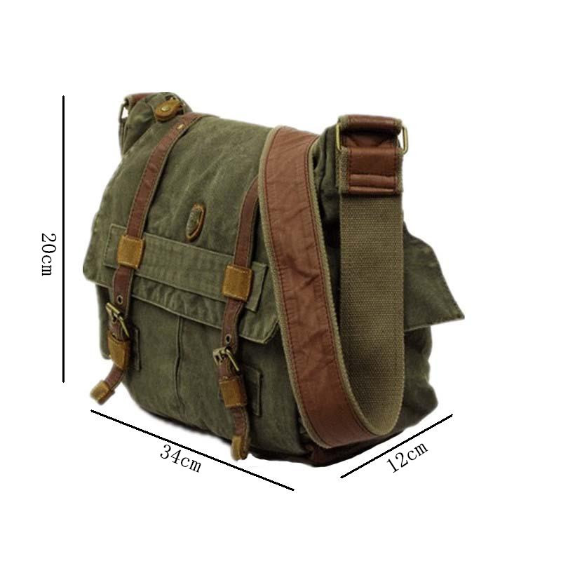 2 Exterior Pockets Messenger Bag Men's Vintage Canvas School Military Shoulder Bag Retro Style For Man Coffee Free Shipping