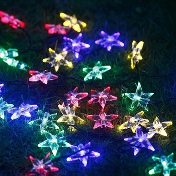 20 led multicolor star solar christmas lights outdoor string lights for patio garden lawn