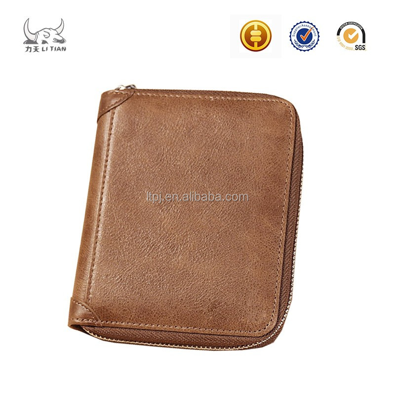 Genuine leather army business card wallet men
