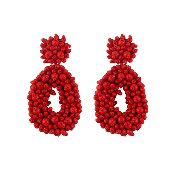 wholesale Bohemian hand-woven crystal beads earrings round rice beads earrings waterdrop
