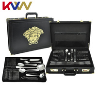 72-Piece Stainless Steel Flatware Set/Cutlery set/ Stainless Steel Flatwares for Hotel and Restaurants with Leather Case