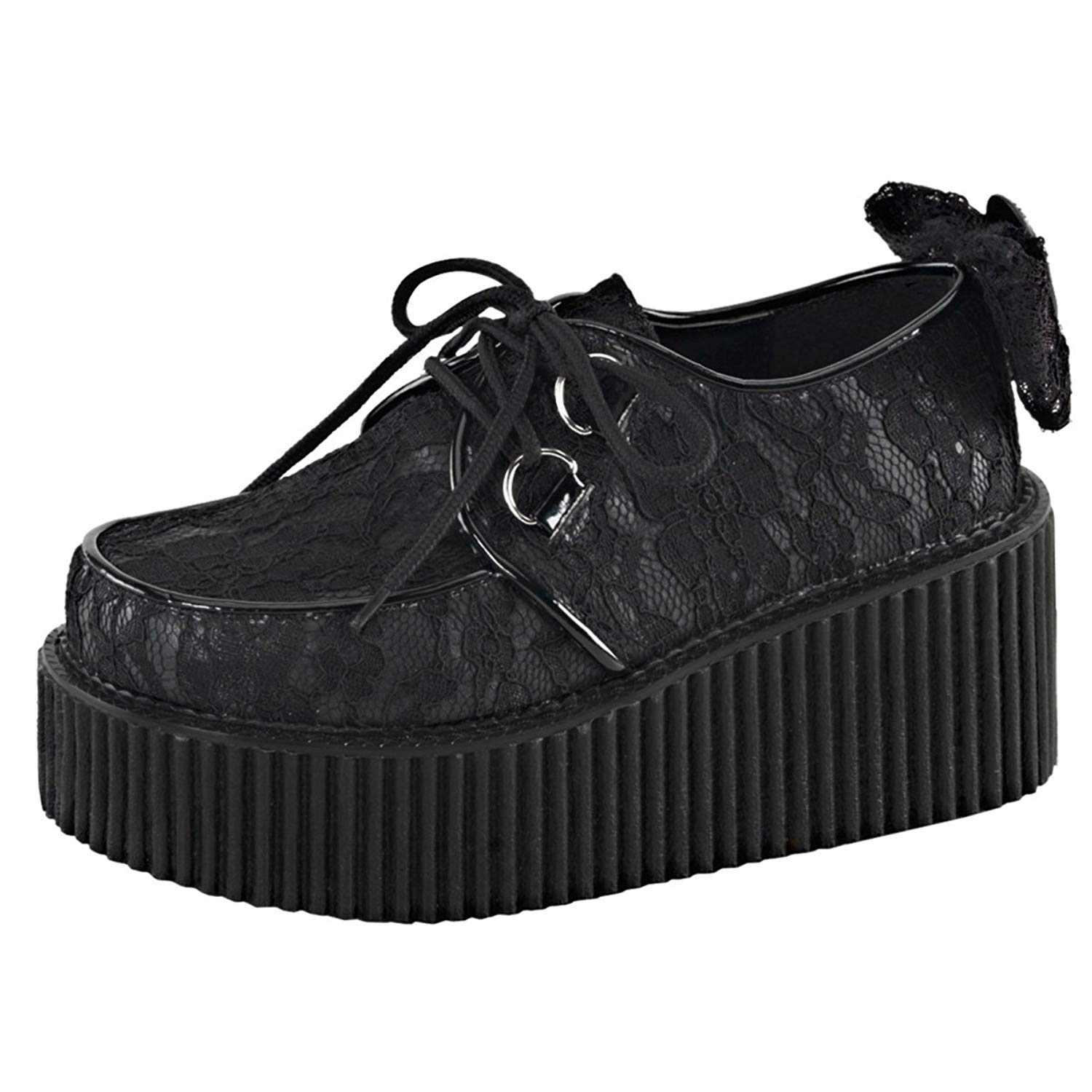 Summitfashions Womens Black Lace Shoes Lace up Platform Creepers Skeleton Bow 3 inch Platform