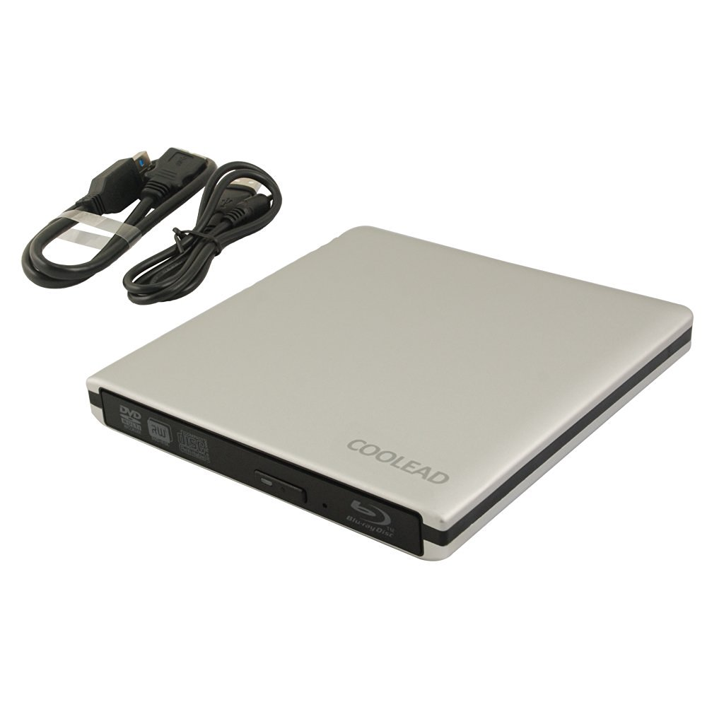 COOLEAD-External USB 3.0 Aluminum Blu-Ray Combo DVD-RW Writer Burner Optical Drive - Silver (Blu-Ray software is not included)