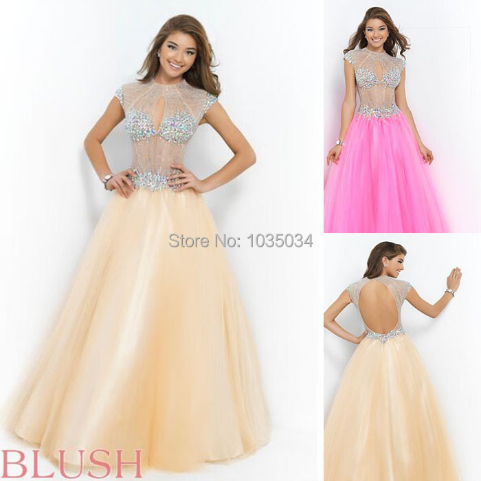 Sexy Illusion Beading Prom Dresses With O_neck Cap Sleeve Backless A_line Chiffon Vestido De Festa Full Beading Crystal Bodice