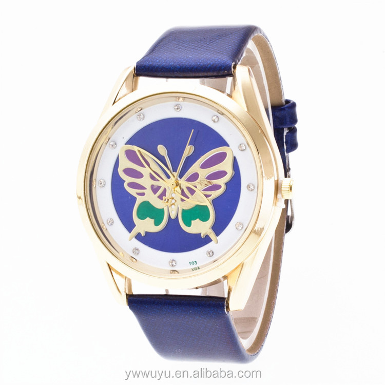 Carving Butterfly Gold Dial Couple Analog Quartz Women Leather Watch