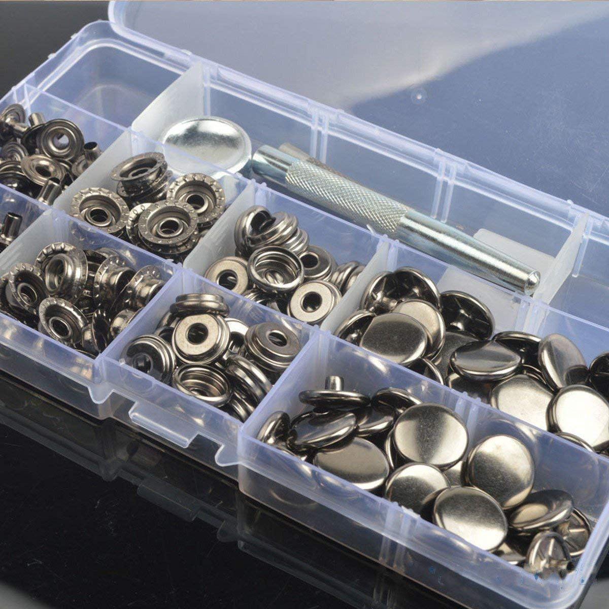 CHENGYIDA 30 Sets 15mm Heavy Duty Silver Snap Fasteners Press Studs Buttons With 201 Setting Tool And Plastic Case