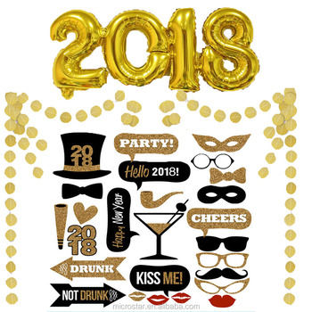 Happy New Year 2018 Foil Balloons Party Favor Fancy Photo Booth Prop Set Supplier Round Glitter