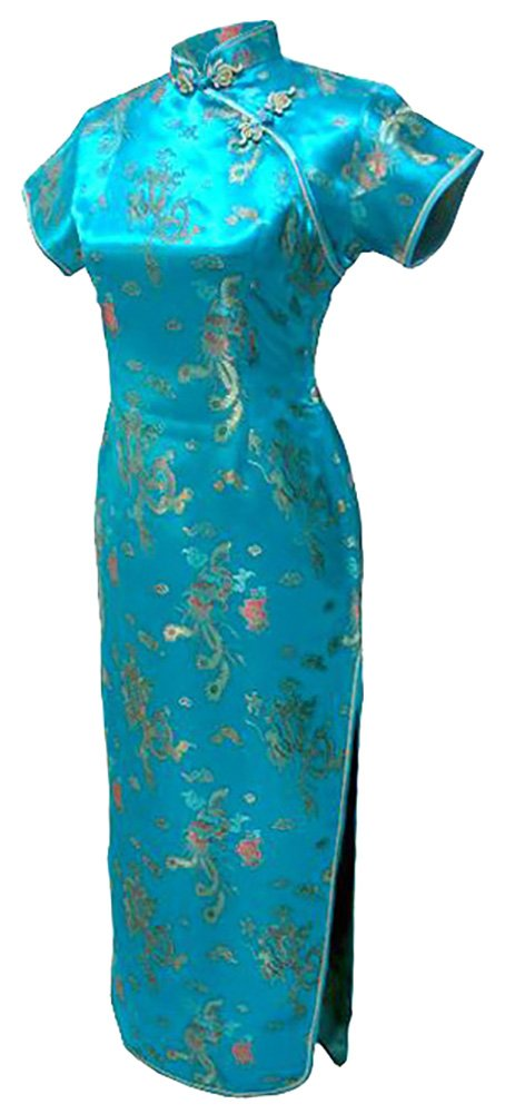 7Fairy Women's Vtg Turquoise Dragon Long Chinese Dress Cheongsam Size