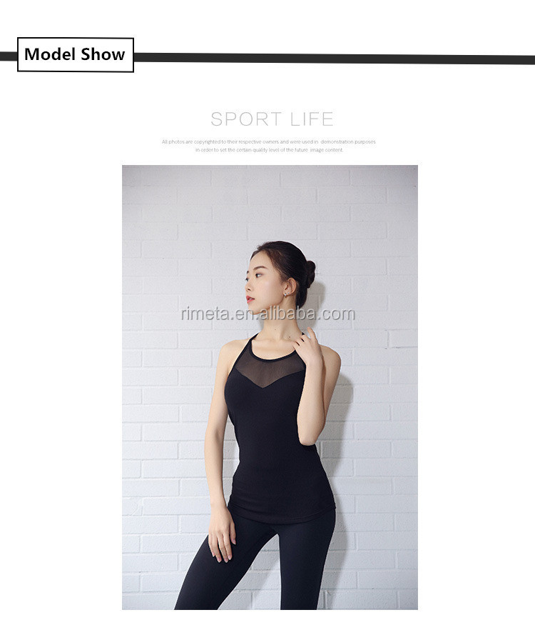2019 Women's mesh gym fitness shirt sports tank tops quick dry hollow out yoga clothing