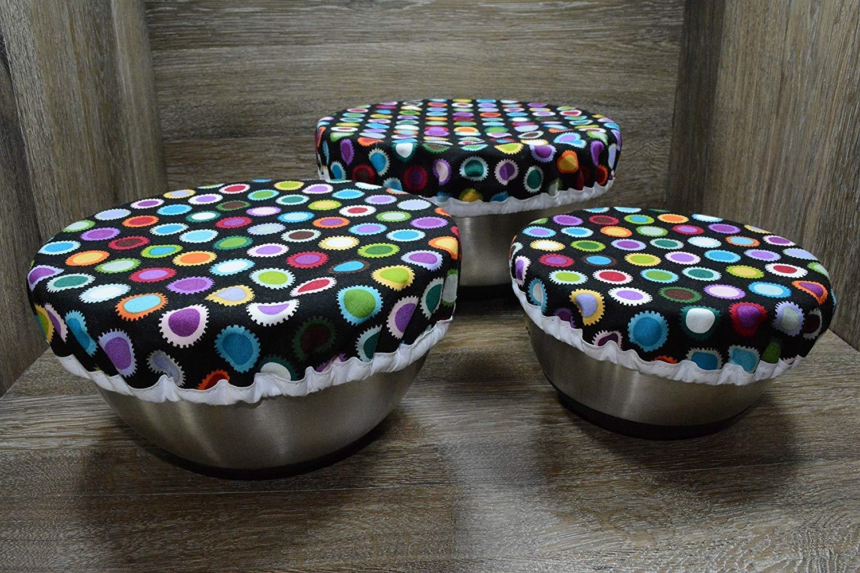 Eco-Friendly//Reusable//Bowl Covers//Set of 3//Circus Dots
