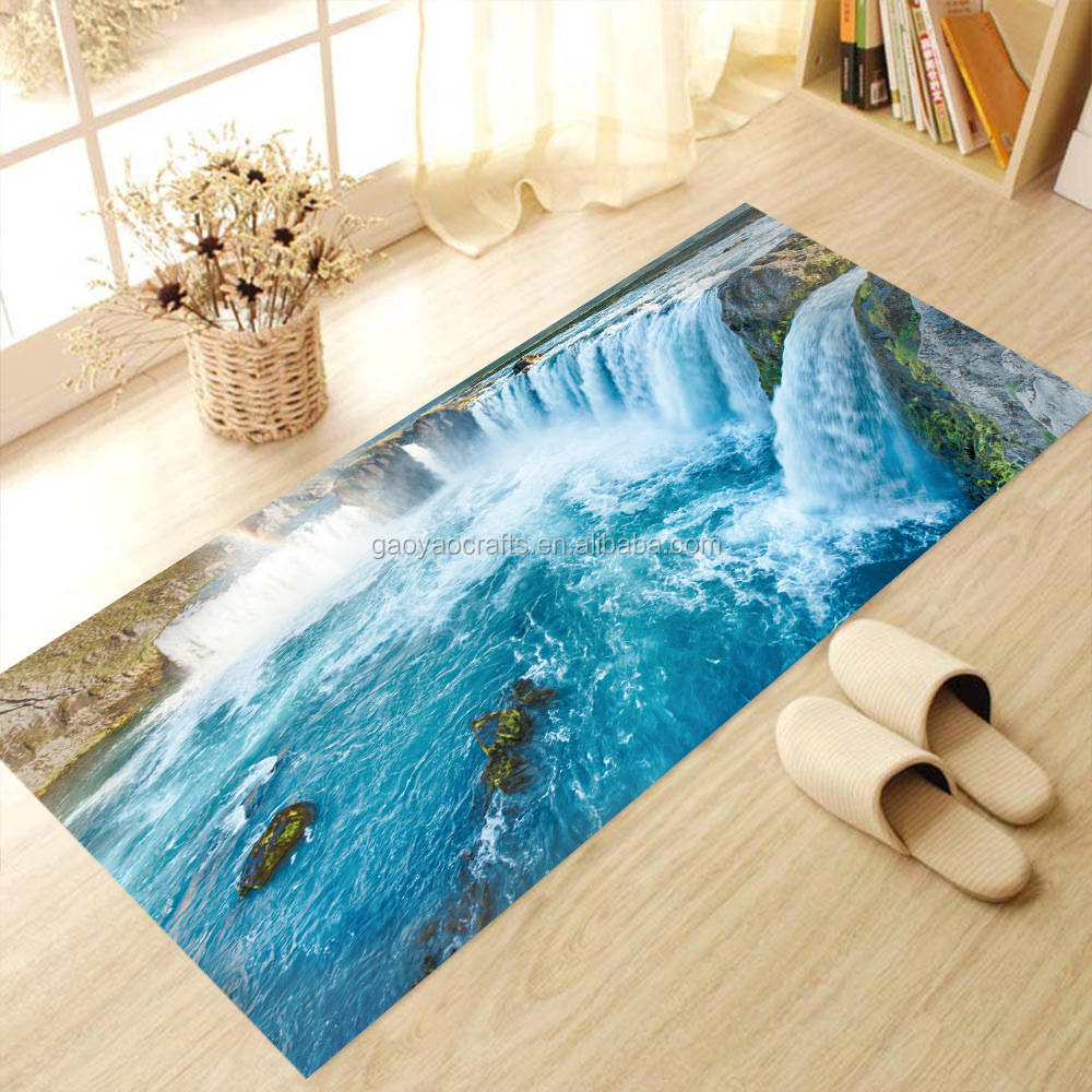 3d boden wandaufkleber abnehmbare kreative wasserfall wandtattoo vinyl anti slip wasserdichte. Black Bedroom Furniture Sets. Home Design Ideas