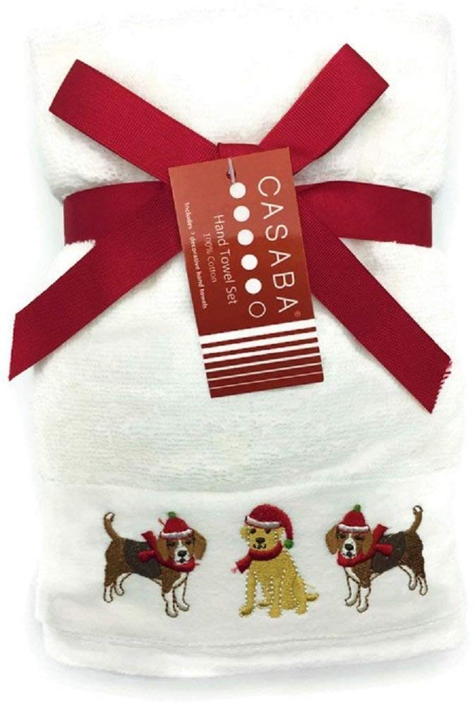 Get Quotations  C2 B7 Casaba Christmas Embroidered Dogs Hand Towels Set Of 2