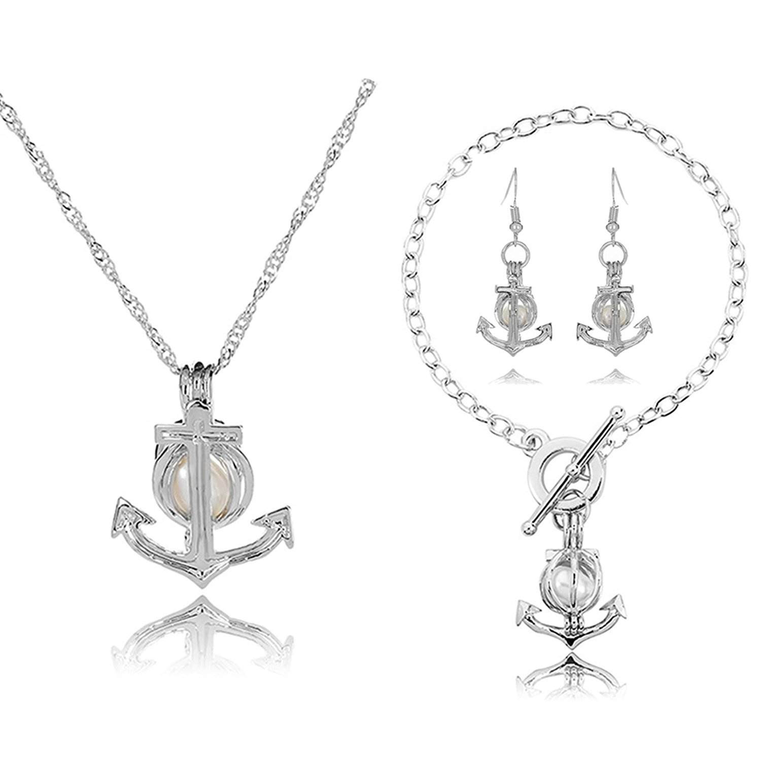 25cfaa782 Get Quotations · HENGSHENG Arrow Locket Cage Jewelry Set Pearl Oyster  Pendant with 1 PC Real Oval Pearl in