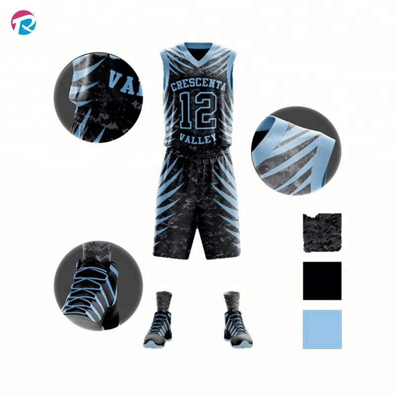 Hot Selling Latest Basketball Jersey Uniform Design Color Blue Green
