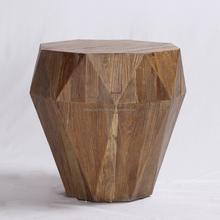 Reclaimed wooden Diamond pattern Side table for Living room furniture