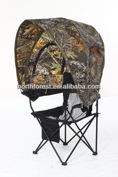 Hunting Blind Tent One Person Chair With Camo Canopy