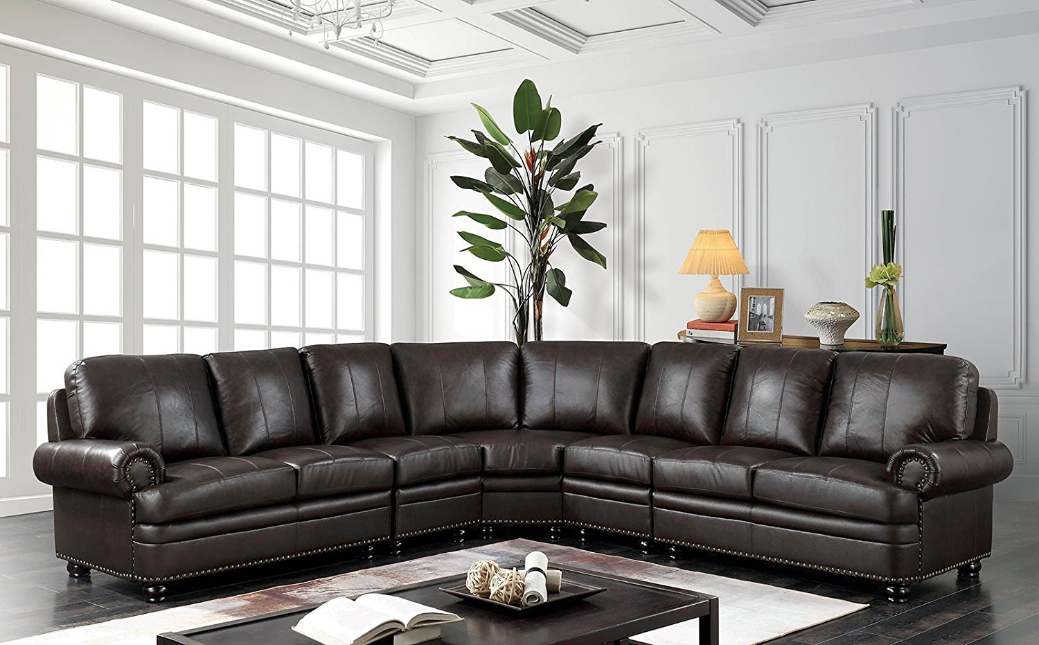 Get Quotations Esofa Edith Clic Top Grain Leather Match Sectional Sofa Nailhead Trim Rolled Arms Loveseat Corner 2