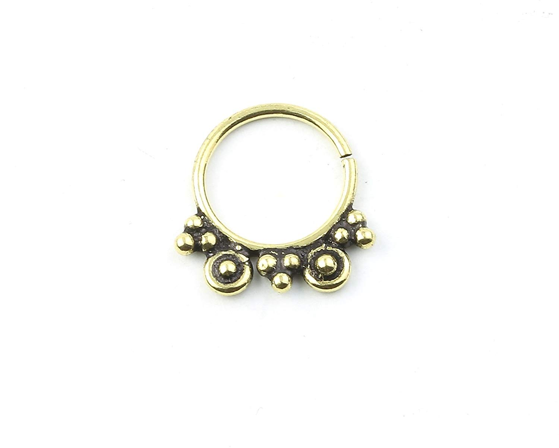 Ethnic Septum Ring Brass Nose Ring Nose Jewelry Faux Septum Ring Fake Septum Ring Tribal Septum Ring Septum Piercing Gold Septum