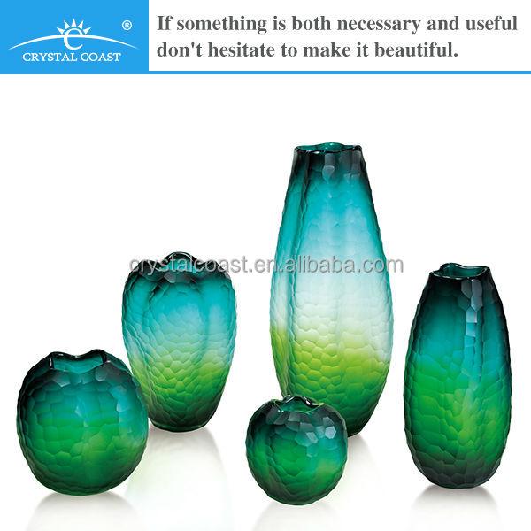 Handblown Blue Green Crackle Glass Vases Buy Blue Glass Vase