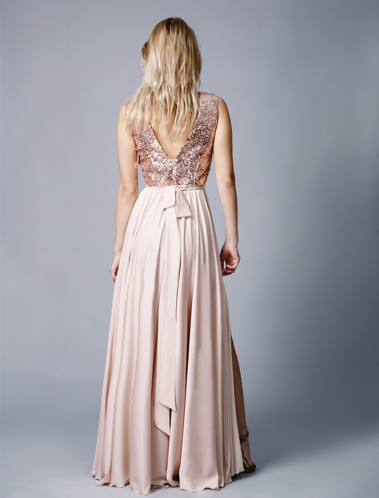 Peach Bridesmaid Dresses Chiffon Prom Party Gowns Sexy Women Bridesmaid Dress