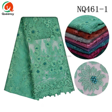 NQ461 Queency Elegant African Handcut Floral Embroidery Lace Crystal Beaded Tulle Mesh Fabric