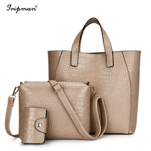 Custom logo coffee casual tote alligator pu leather used big purses bags handbags for women