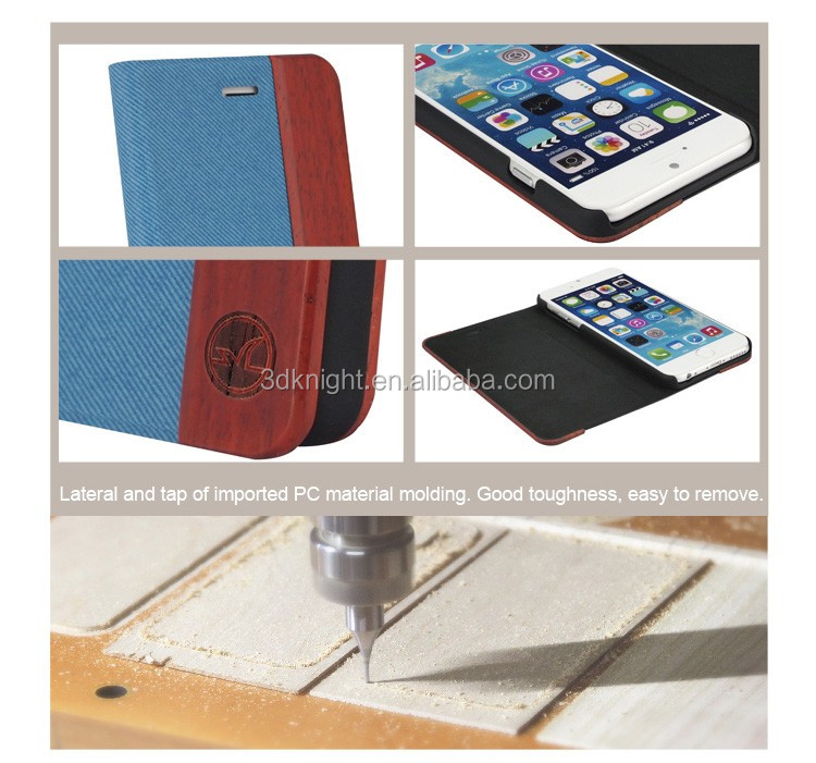 2016 China Supplier Hot Selling New Products Wood Wallet Flip Cover Leather Mobile Phone Case for iPhone 6 PLUS