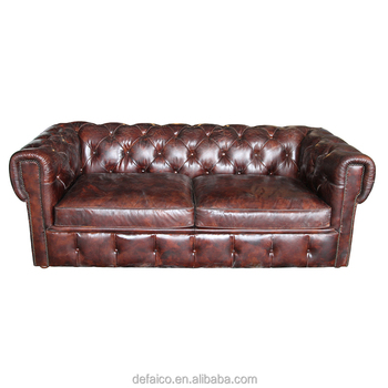 Vintage Chesterfield 2s Leather Button Back Sofa - Buy Chesterfield ...