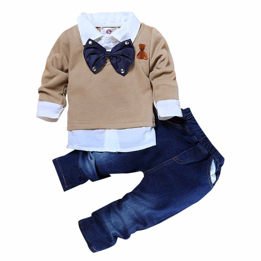 Children's clothing Sets with long sleeves Autumn Costume Gentleman T-shirt + Jeans wholesale children's boutique clothing set фото