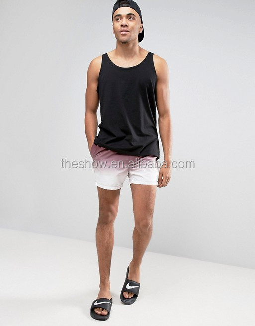 Mens Swim Shorts In Dip Dye Burgundy Short Length