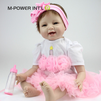 Lovely toy realistic 22 inch full body silicone reborn baby doll 55cm lifelike newborn babies
