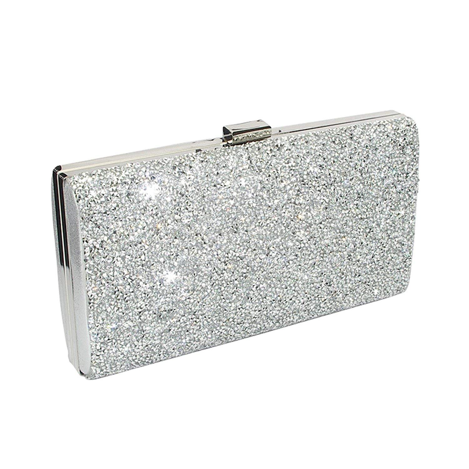 09c44683c4 Get Quotations · Asien Womens Rhinestone Clutch Glitter Beaded Purse Silver  Clutch Evening Bags+Rhinestones Ring