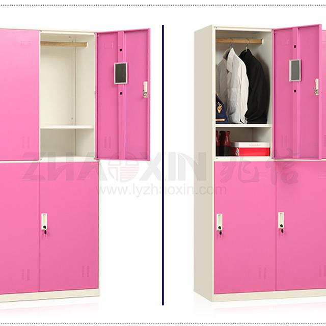 4 Door Induction Metal Lockers Storage Cabinets Pink Wardrobe Closet Cabinet