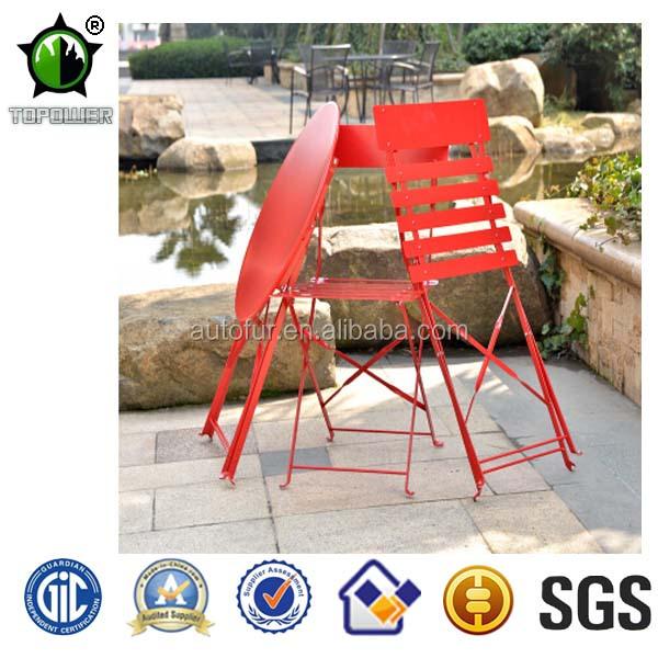 Colorful Metal Folding Outdoor Table and Chair Set