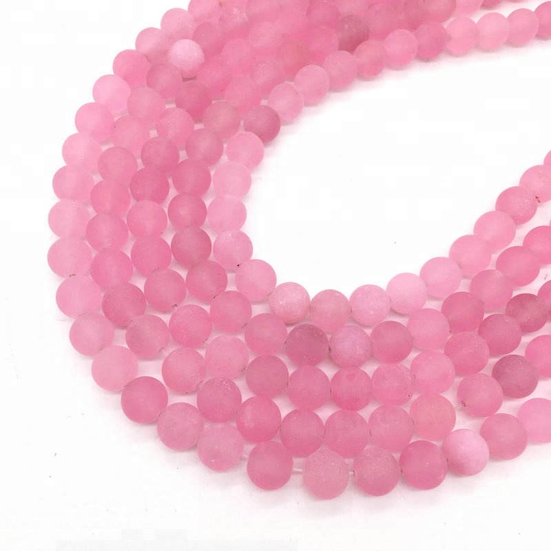 Semipermeable Rose Quartz Natural Gemstone Loose Beads 10mm Matte Round Crystal Energy Stone Healing Power for Jewelry Making фото