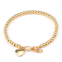 Girls Womens Yellow Rose Silver Tone Gold Plated Chains Stainless Steel Beads Bracelet Heart Brand Jewelry