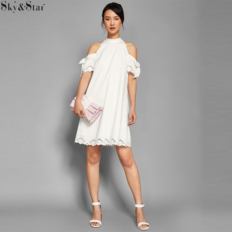 Off-the-shoulder embroidered dress High collar white dress