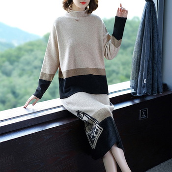 Super high quality korean style office lady slim fit cashmere winter thick dress and sweater set