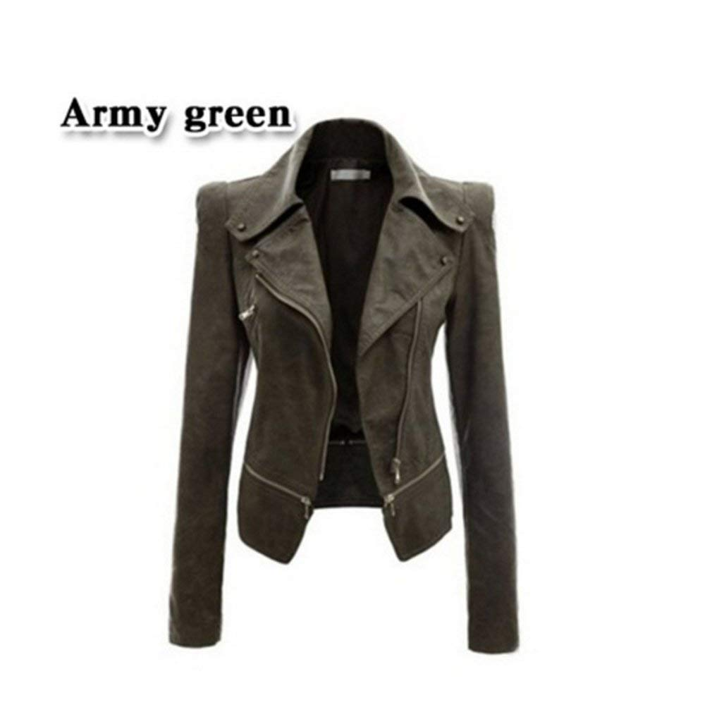 UNKE Women's Biker Jacket Zipper Cool Jacket Slim Motorcycle,Green,S