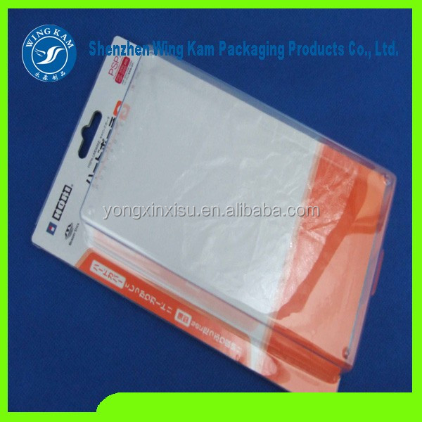 professional blister packaging card with hang slide pack and Plastic clamshell packaging , clamshell blister with paper card