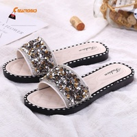 Crystal Flat Latest Ladies 2019 New Flat Sandals Lady Shoes