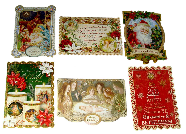 punch studio 6 die cut christmas note cards envelopes antique ephemera savior 67118 35 x 5