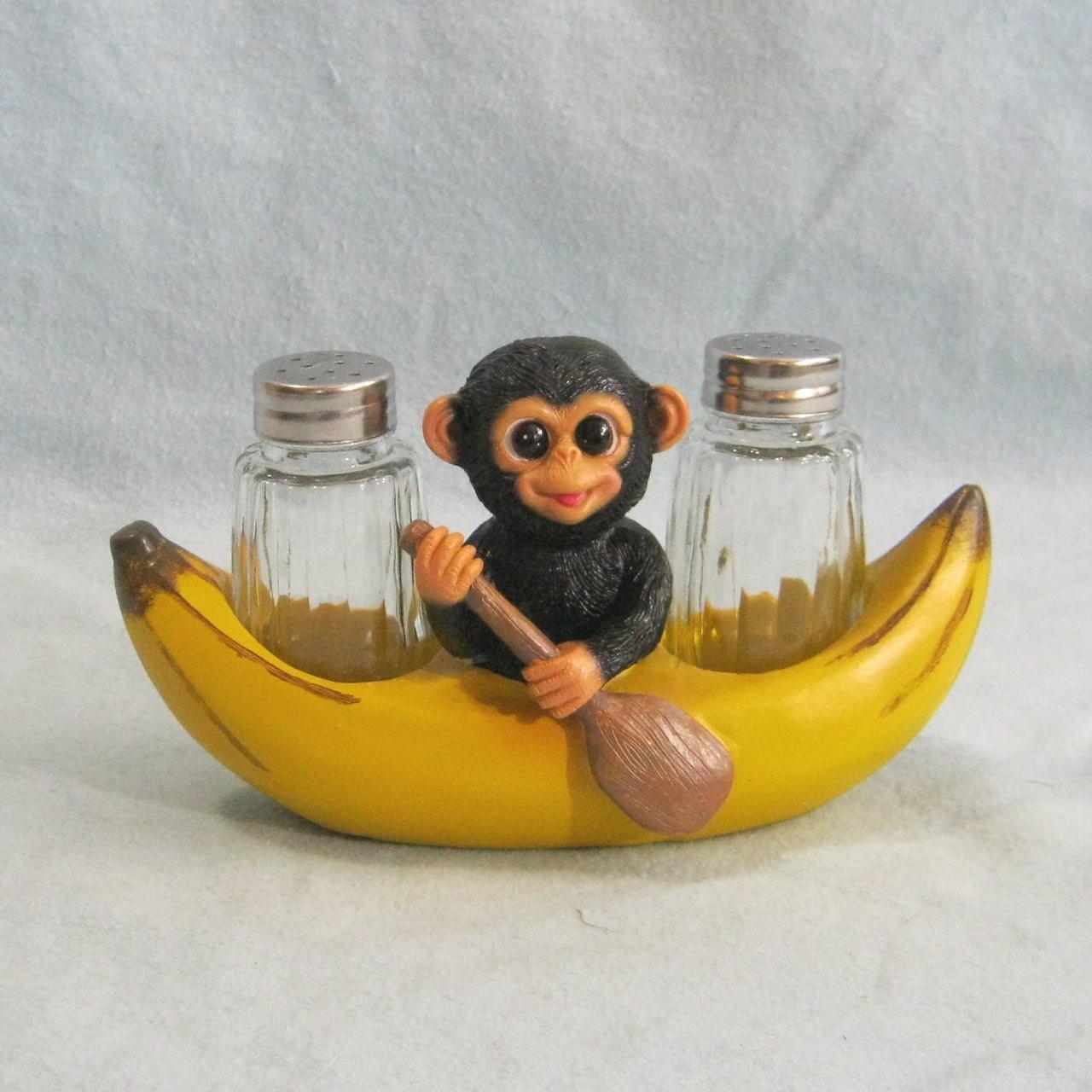 "DWK ""Spice A' Peel"" Monkey And Banana Salt And Pepper Shaker #248"