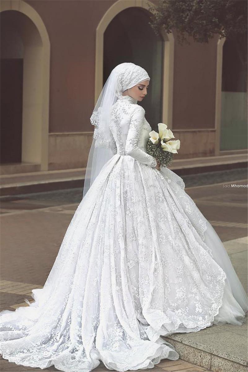 Princess Long Sleeve Muslim Wedding Dress 2015 Ball Gown