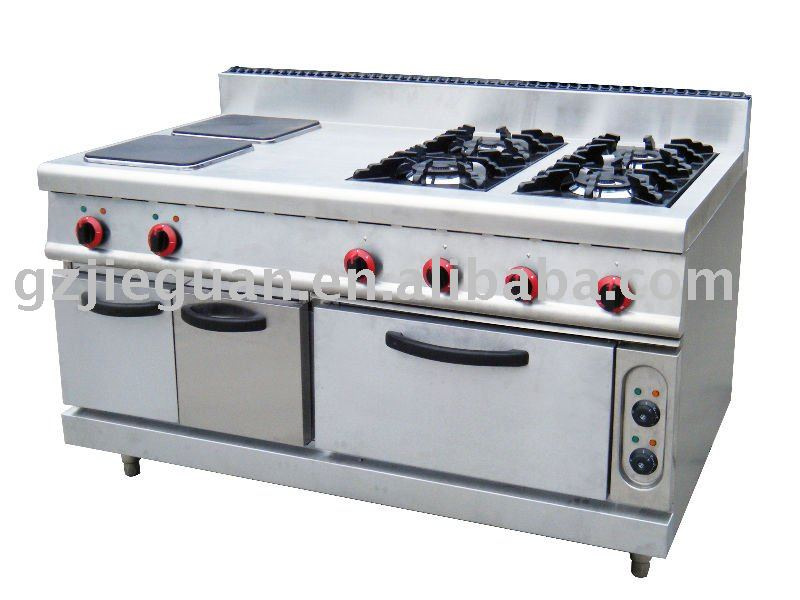 Gas Range with 4 burners and 2 electric hot plate and 1 electricoven (GH-1500A)