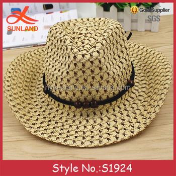 S1924 Hot Sale Men Foldable Paper Cowboy Hats Pattern Woven Paper