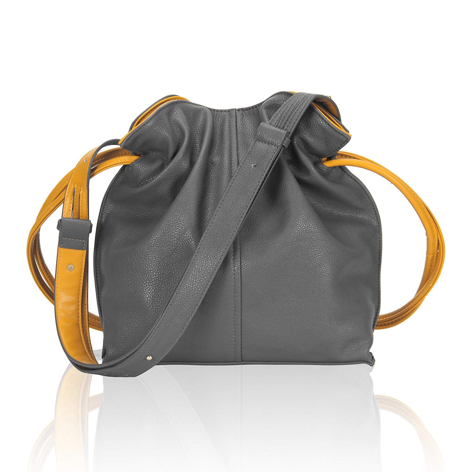 4e90648d55b0 Get Quotations · Leather Drawstring Bucket Bag Crossbody Shoulder Bag for  Women