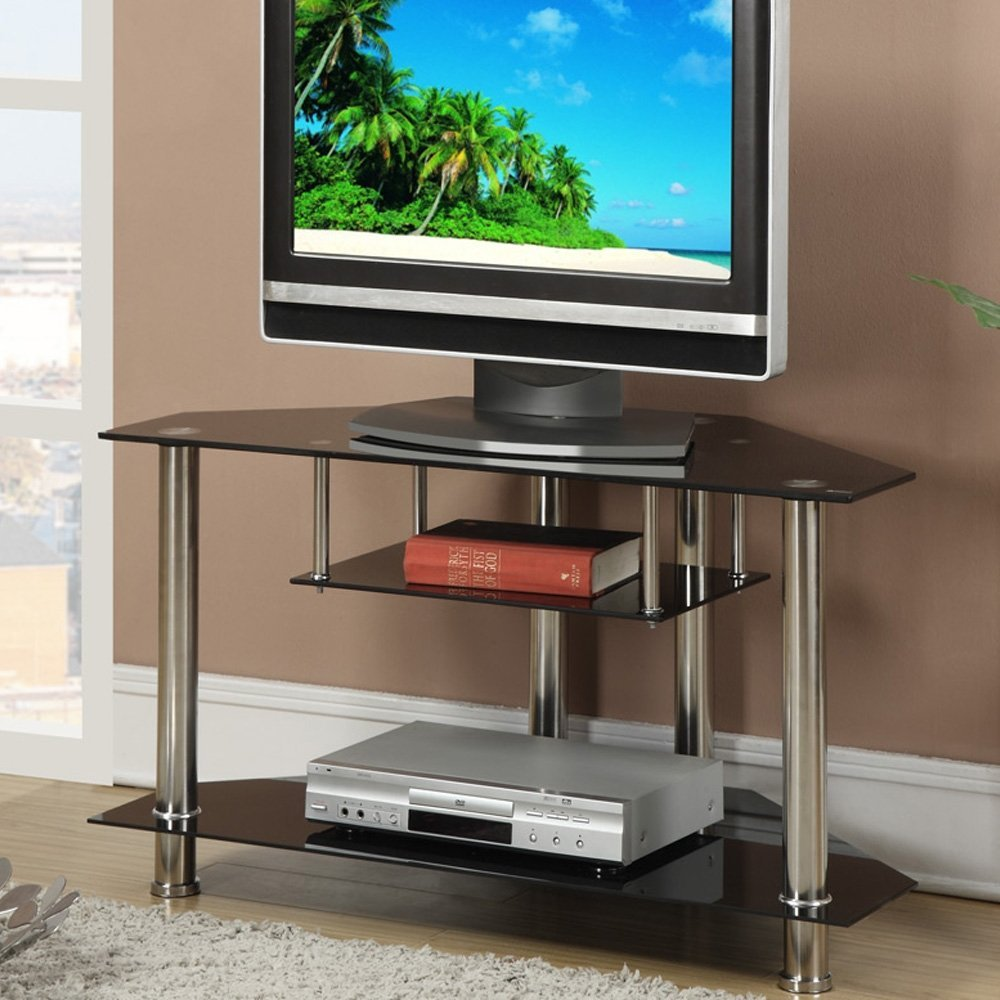 Buy 3 Tiered Black Metal Glass Tv Media Console Stand Up To 39 Tv