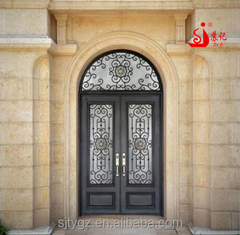 Elegant Decorative Wrought Iron Security Door For High Cl Housings