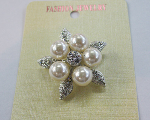 New Brooth Pin Alloy Rhinestone Pearl With Starfish